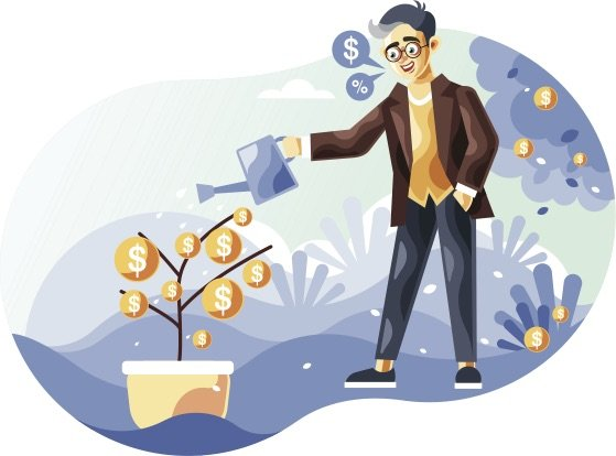Multiple streams of income. Businessman watering a money tree