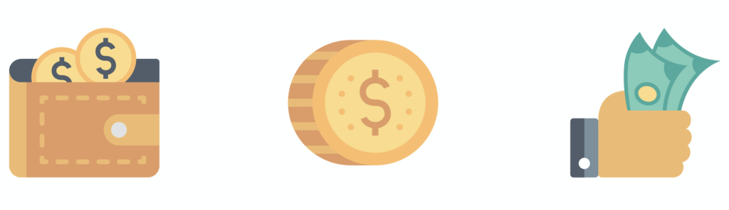 Source of income image showing money icons