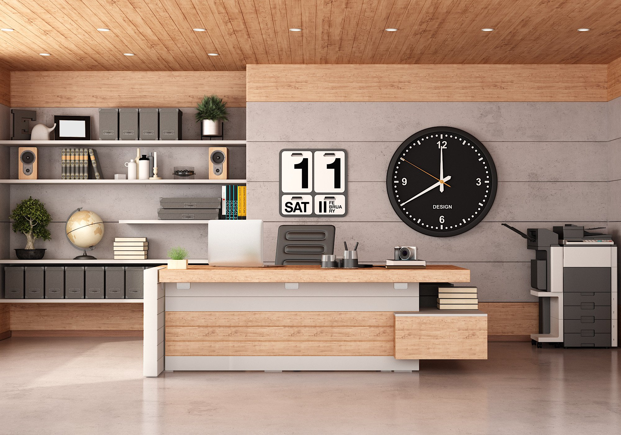 Modern office with concrete and wooden paneling,desk,chair and photocopier - 3d rendering